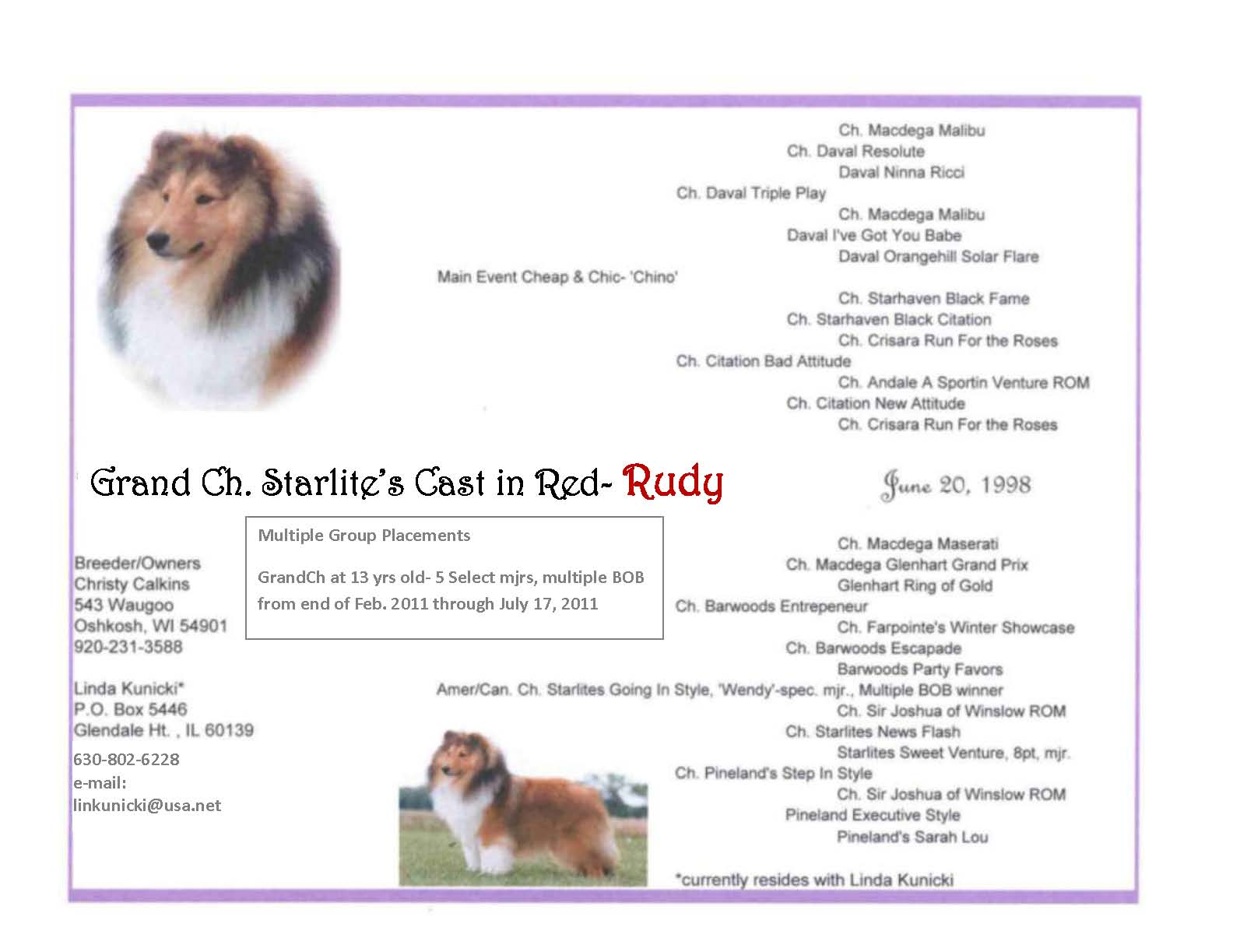 updated Rudy pedigree